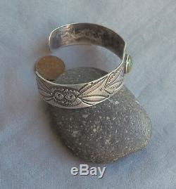 Old Unisex Fred Harvey Era Silver Green Turquoise Cuff Bracelet Whirling Logs