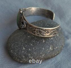 Old Vintage Fred Harvey Era Silver Green Turquoise Cuff Bracelet Rams Heads