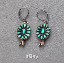 Old Vintage Harvey Era Silver Turquoise Cluster Squash Drop Dangle Earrings