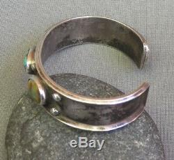 Old Vintage Native American Silver 3 Blue Green Turquoise Row Cuff Bracelet Sm