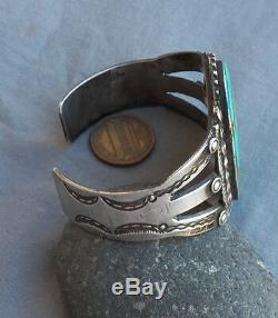 Old Vintage Native American Silver Royston Turquoise Cuff Bracelet 47.2 Grams