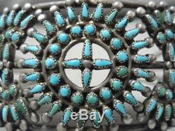 One Best Early Vintage Zuni Native American Turquoise Sterling Silver Bracelet