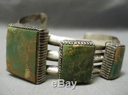 One Of The Best Vintage Navajo Squared Green Turquoise Sterling Silver Bracelet