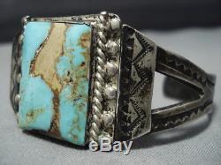 Opulent 1920's Vintage Navajo Turquoise Sterling Silver Bracelet Old