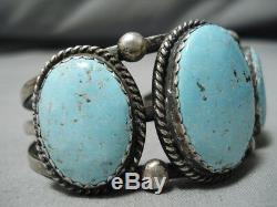 Opulent Vintage Navajo #8 Turquoise Sterling Silver Bracelet Old