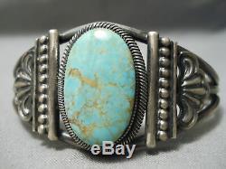 Opulent Vintage Navajo Carico Lake Turquoise Sterling Silver Bracelet