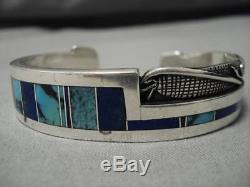 Opulent Vintage Navajo Corn Sterling Silver Bisbee Turquoise Inlay Bracelet