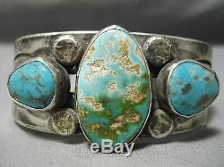 Opulent Vintage Navajo Early Turquoise Sterling Silver Bracelet Old