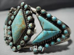 Opulent Vintage Navajo Royston Turquoise Snak Eyes Sterling Silver Cuff Bracelet