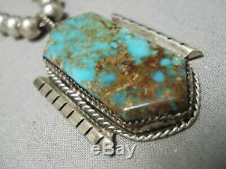 Opulent Vintage Navajo Royston Turquoise Sterling Silver Necklace Old