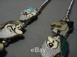 Opulent Vintage Navajo Zuni Turquoise Sterling Silver Squash Blossom Necklace