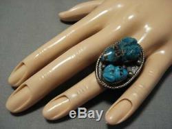 Opulent Vintage Zuni Navajo Turquoise Frog Fetish Sterling Silver Ring Old