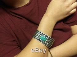 Outstanding early 1900s pounded ingot navajo coin silver cuff bracelet
