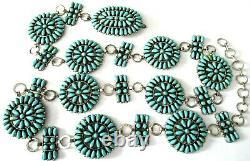 PAUL JONES Sterling Silver Genuine Turquoise Native American Navajo Concho Belt