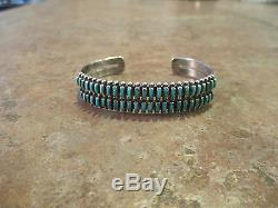 PERFECT Vintage ZUNI Sterling Silver PETIT POINT Turquoise ROW Cuff Bracelet