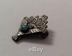 Petite Native Indian Sterling Silver KOSHARI Turquoise Applied Thunderbird Pin