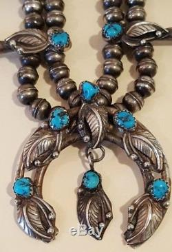 Petite Vintage Native American Sterling Silver Turquoise Squash Blossom