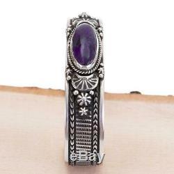 Purple Sugilite Bracelet Sterling Silver Natural HAPPY PIASSO Navajo Stacker