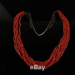 Quality Natural Red Coral bead SIX strand necklace vintage Navajo old pawn