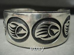 Quality Vintage Hopi'micro Chisel' Thick Silver Bracelet Old Jewelry