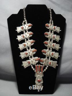 Quality Vintage Navajo Coral Kachina Sterling Silver Squash Blossom Necklace