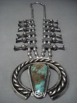 Quality Vintage Navajo Coral Turquoise Sterling Silver Squash Blossom Necklace