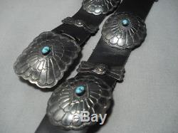 Quality Vintage Navajo Sterling Silver Turquoise Concho Belt Old Pawn