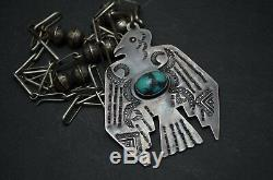 RARE VTG Old Pawn Navajo Necklace Fred Harvey Era Silver & Turquoise Thunderbird