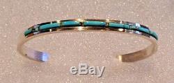 RARE Vintage Navajo Sterling Silver Morenci Turquoise Cuff Bracelet Signed