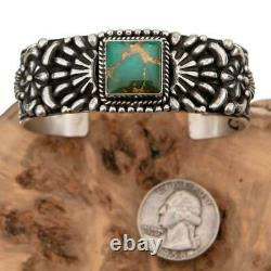 ROYSTON Turquoise Bracelet Sterling Silver TSOSIE WHITE Natural Cuff Old Pawn S