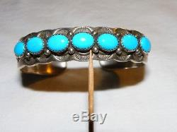 Rare Charley Family Vintage Navajo Turquoise Sterling Silver Cuff Bracelet