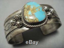 Rare High Grade Vintage Navajo Royston Turquoise Sterling Silver Bracelet Old