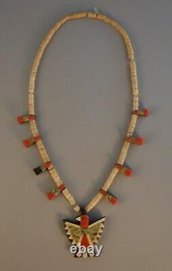 Rare Old Santo Domingo Pueblo Indian Thunderbird Necklace 1940s Folkart