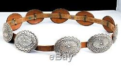 Rare Sterling Silver STUNNING Vintage Navajo Concho Belt 70's