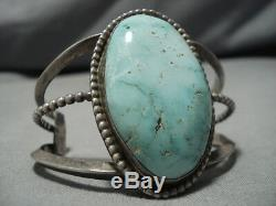 Rare Vintage Navajo Carico Lake Turquoise Sterling Silver Bracelet Old