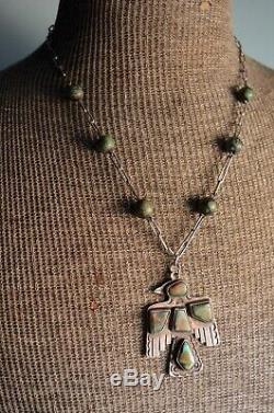 Rare Vintage Navajo Fred Harvey Silver Turquoise Native Thunderbird Necklace Old