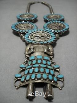 Rare Vintage Navajo Sterling Silver Turquoise Kachina Squash Blossom Necklace