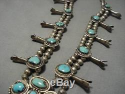 Rare Vintage Navajo Turquoise Sterling Silver Squash Blossom Necklace Old