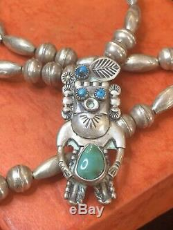 Rare Vintage Sterling Native American Necklace Hopi Turquoise Signed Jerry Roan