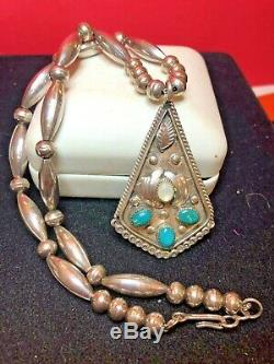 Rare Vintage Sterling Native American Necklace Turquoise Signed Pendant