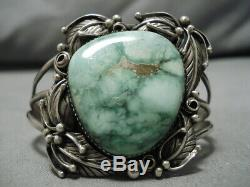 Rare Vintage Yazzie Carico Lake Turquoise Sterling Silver Bracelet Cuff