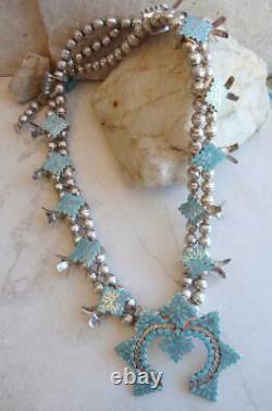 Rare Vtg. Zuni FRANK DISHTA 1930's-'40 Turquoise Silver SQUASH BLOSSOM NECKLACE