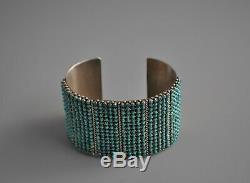 Rare Vtg Zuni Silver Snake Eye Dot Turquoise Bracelet Steven Haloo 450 Stones