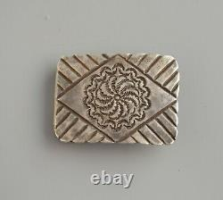Rare Whirling Wheel Old Pawn Navajo Silver Belt Buckle Chiselled & Handstamped