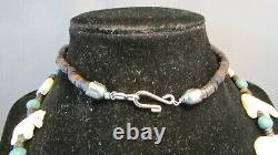 Rare Zuni Native American Carved Bear Fetish Heishi Bone Kachina Necklace