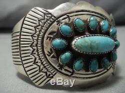 Remarkable Vintage Navajo Royston Turquoise Sterling Silver Bracelet Old