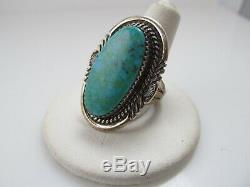 Running Bear Large Sterling Silver Turquoise Ring Vintage Handmade