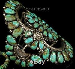 Rustic 1970s Old Pawn Vintage NAVAJO Petit Point Sterling & Turquoise Bracelet