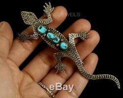 Rustic Old Pawn Vintage NAVAJO Sterling & Turquoise LIZARD Pin or Pendant