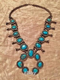 SALE! Vintage Navajo Turquoise Sterling Silver Squash Blossom Necklace